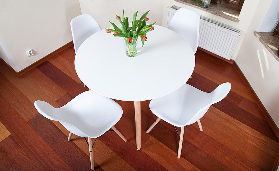 Nowoczesny Zestaw Stół Okrągły Fi 100 Biały 4 Krzesła