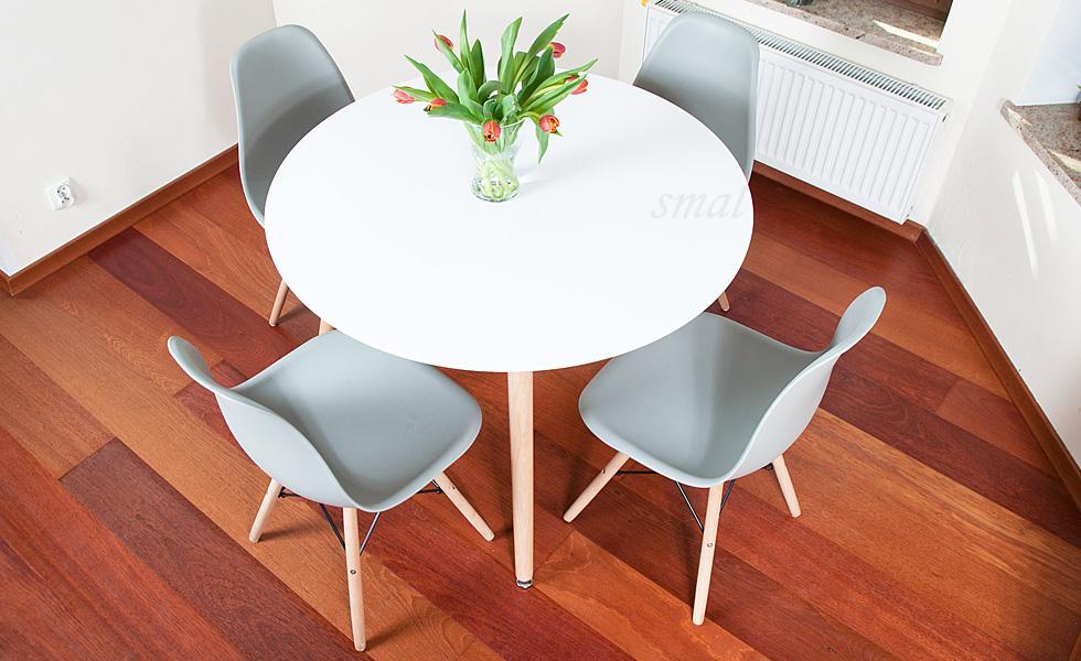 Nowoczesny Zestaw Stół Okrągły Fi 100 Biały 4 Krzesła Szare