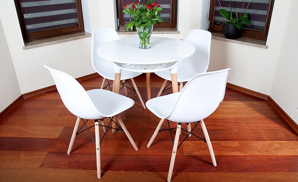 Nowoczesny Zestaw Stół Okrągły Fi 80 Biały 4 Krzesła