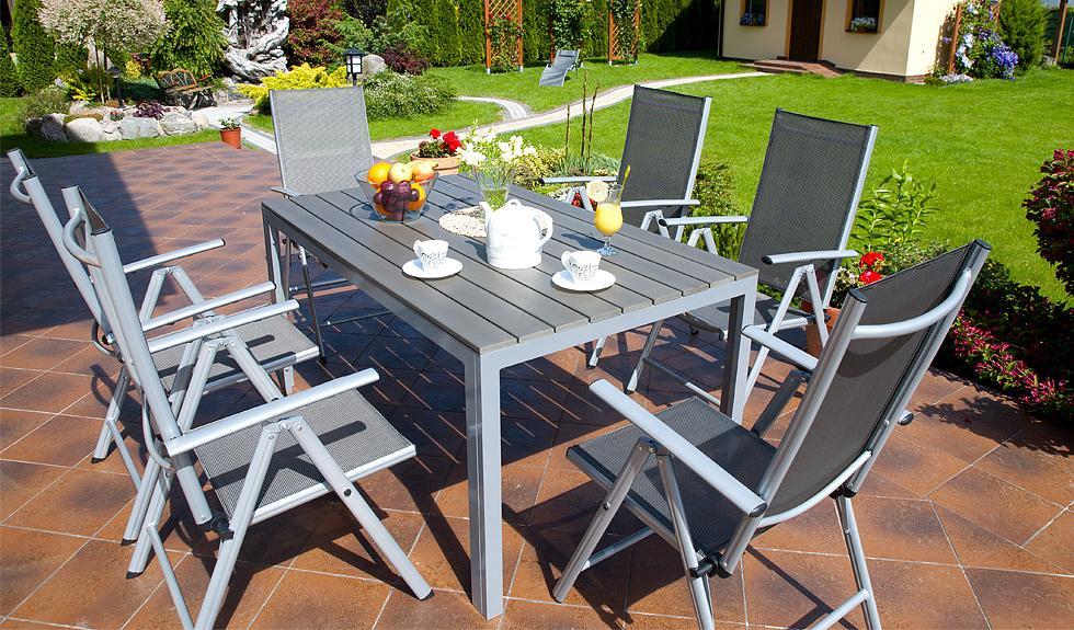 Meble Ogrodowe Drewniano Aluminiowe : MEBLE OGRODOWE aluminiowe ZESTAW OGRODOWY modena srebrny  Karnisz