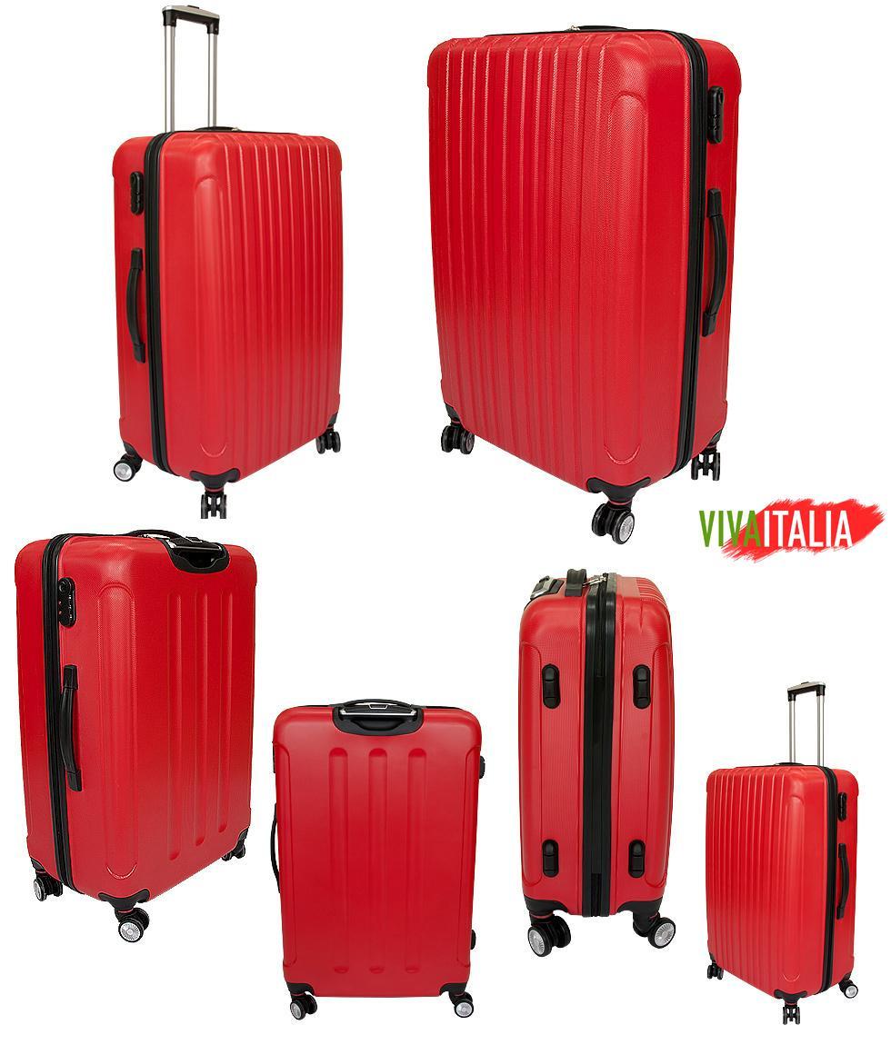 9906e23b3871a ZESTAW 3 SZTUK Walizek Podróżnych VIVA ITALIA z poliwęglanu kolor CZERWONY
